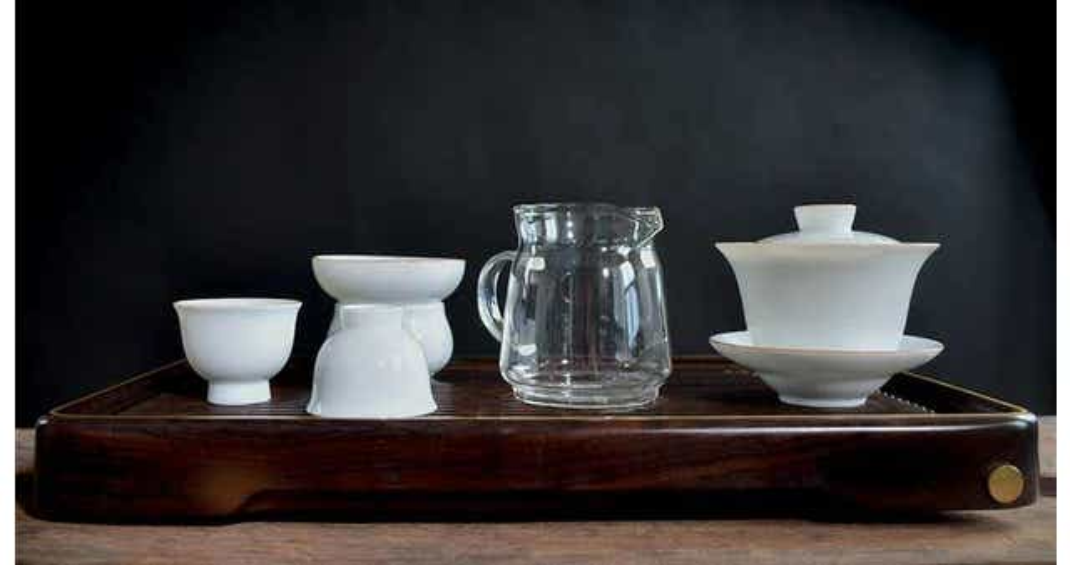 Banded Porcelain Full Gongfu Board Tea Set