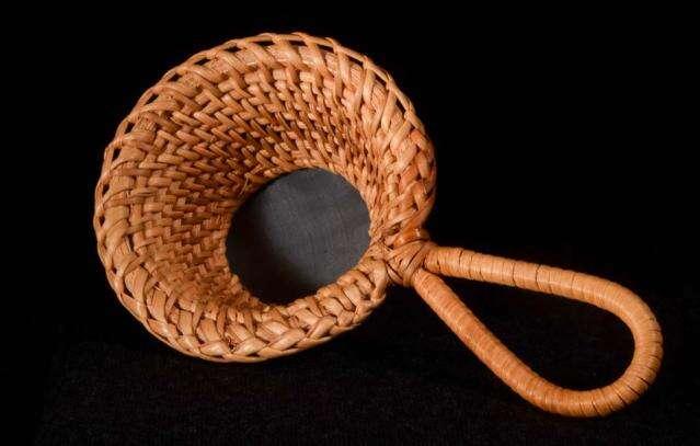 Hand Woven Handled Bamboo Strainer