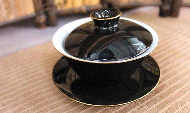 Black Gilded Porcelain Gaiwan