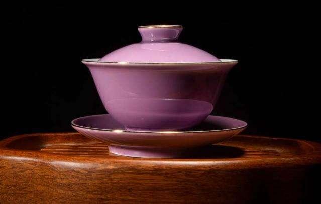 Purple Gilded Porcelain Gaiwan