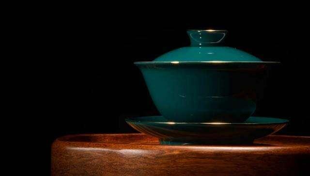 Green Gilded Porcelain Gaiwan