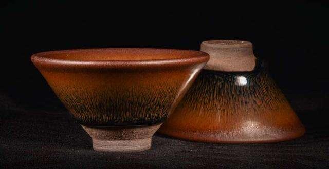 Small Shui Ji Jian Zhan Hare's Fur Glaze Cup (Set of 2)
