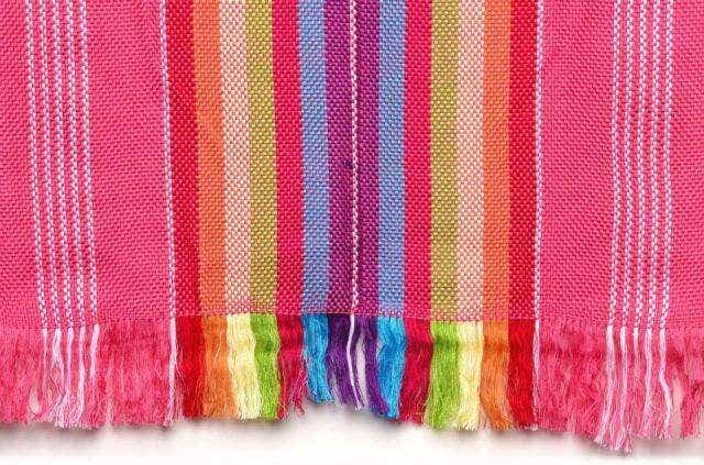 "Hand Woven ""Rainbow"" Runner in pink"