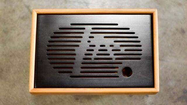 Black Slatted Bamboo Tea Tray