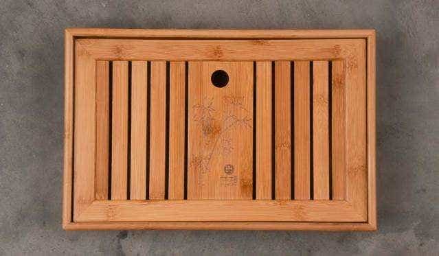 Carved Bamboo Slatted Tea Tray