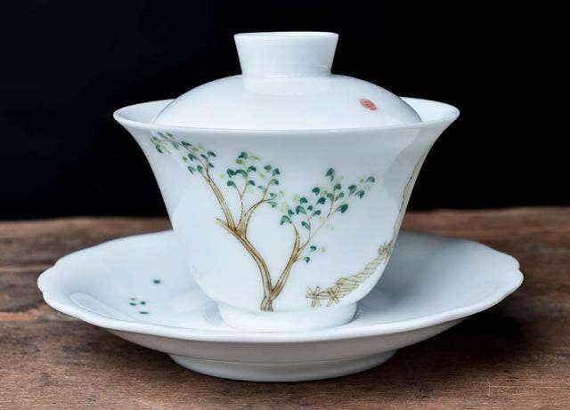 Scholarly Painted Gaiwan