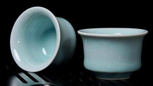 Blue Flared Celadon Cups (Set of 2)