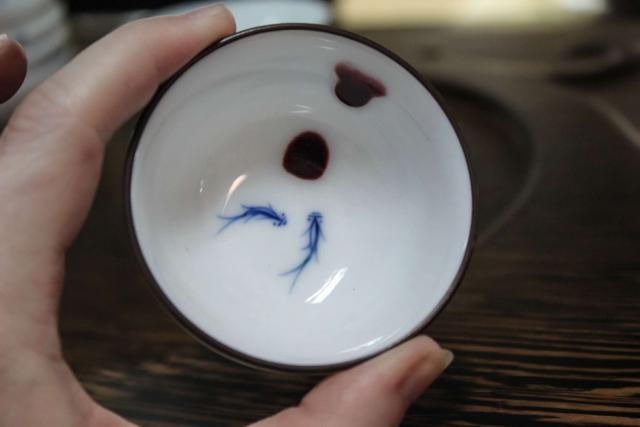Red Drop Fish Pair Bowl Cup