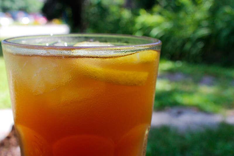 Iced Tea With Honey Lemon Ginger Ice Cubes Recipe — Dishmaps
