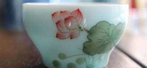 Jingdezhen Painted Celadon Tea Cup