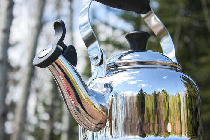 Tea kettle in the woods