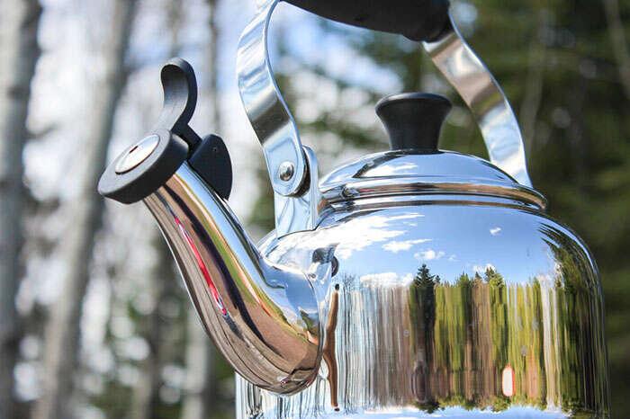 Tea kettle in the woods