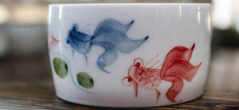 Jingdezhen Red Fish Blue Fish Drum Cup