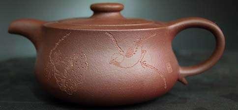 Fan Chunfeng Zini Carved Bird and Lotus Yixing