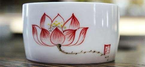 Jingdezhen Red Lotus Drum Cup
