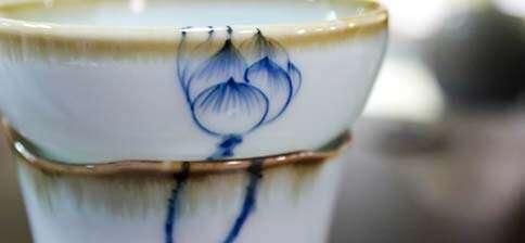 Jingdezhen Blue Lotus Natural Edge Strainer
