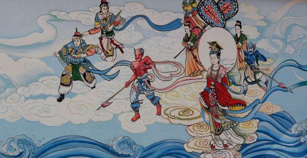 mural outside the Daoist temple on Laoshan's pier