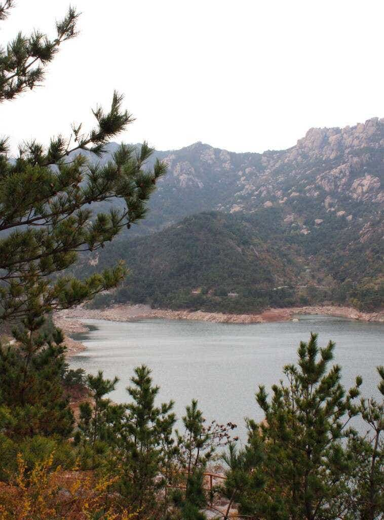 This reservoir in Laoshan's peaks holds some of the mountain's famous spring water