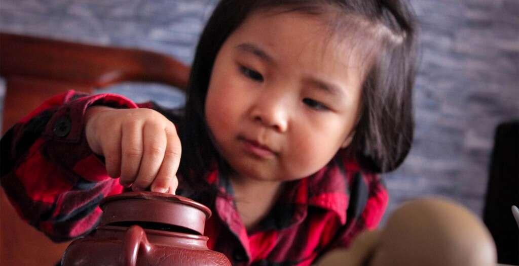 Niu Niu loves using her mother's yixing tea pot!