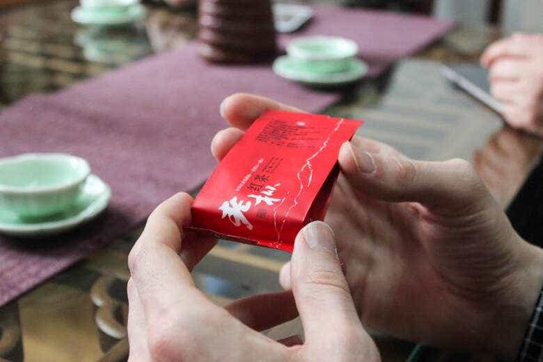 a tiny packet of Old Tree Wuyi Gongfu Black Tea