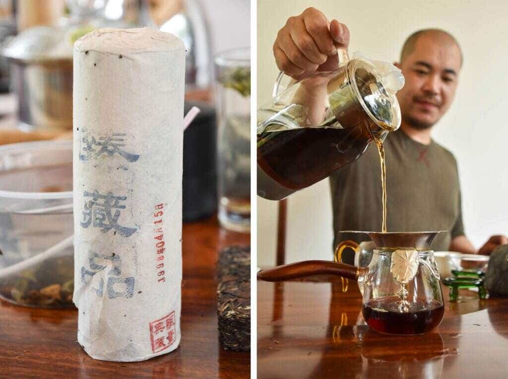 Mr. Wu brews a 1998 aged white tea.