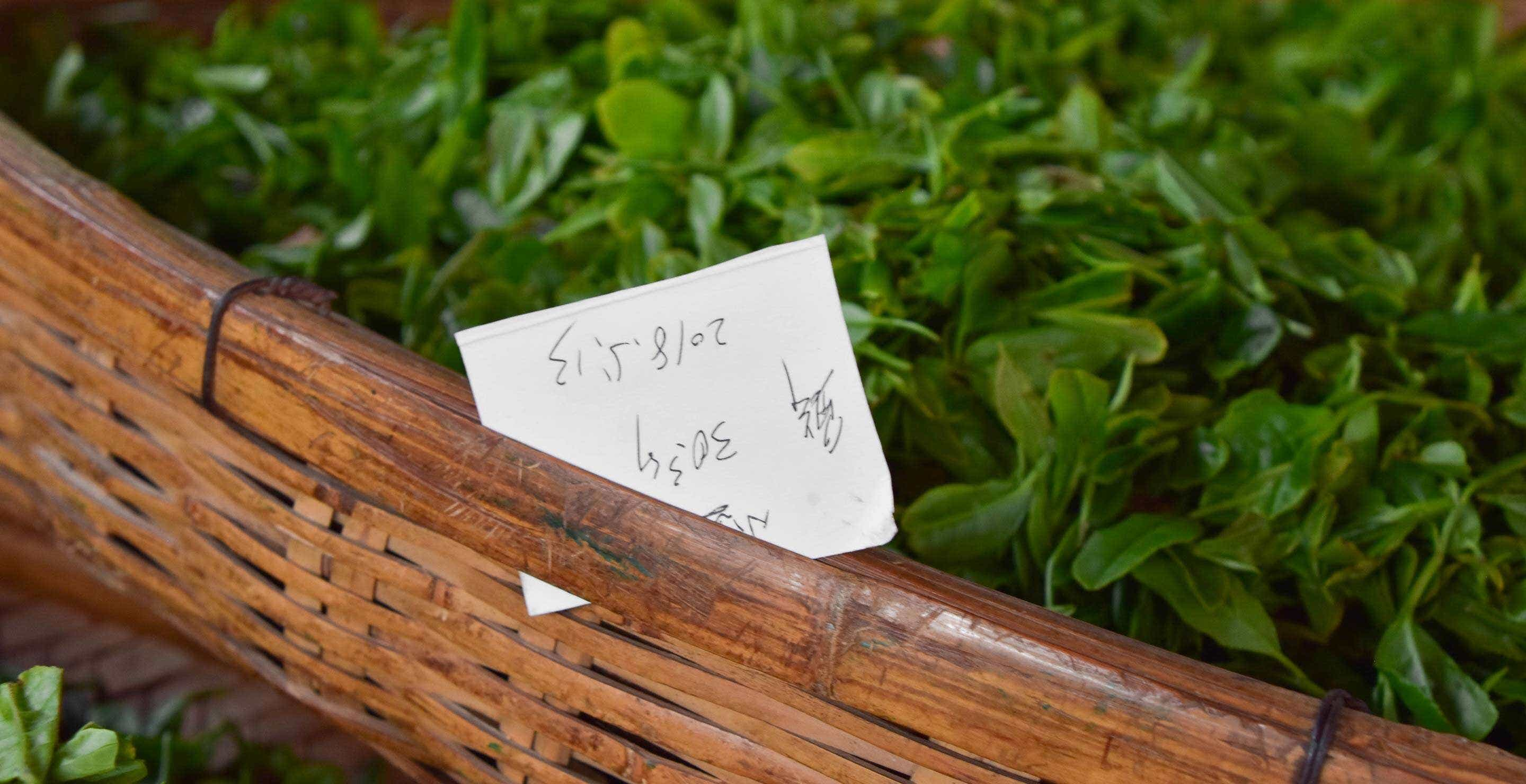 a hardwritten tag identifies a neighbor's tea in the workshop